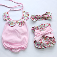 Wholesale Candy Striped Pants - Everweekend Ins Cute Baby Girls Candy Floral Neckline Rompers with PP Pants and Headbands 3pcs Sets Sweet Summer Clothing