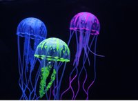 ingrosso arredamento piscina-New Cute Fluorescent Effetto incandescente Medusa galleggiante acqua Pianta Acquario Fish Tank Ornament Swim Pool Bath Decor