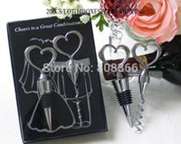 Wholesale Wine Shipping Boxes Wholesale - Wholesale- Wedding souvenirs Cheers to a Great Combination Wine Set Wedding favors in black box Free shipping 20PCS LOT(10BOXES)