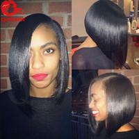 Wholesale Side U Part Wig - U Part Wigs For Black Women Side Part Straight Brazilian U Part Bob Wig Human Hair Glueless Virgin Hair Upart Wig