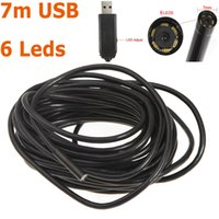 Wholesale Mini Micro Scope - Waterproof 7mm USB Inspection Borescope Endoscope Snake Scope 6pcs LED 7m Tube Micro Camera 640x480 security Mini CCTV Cameras H11074