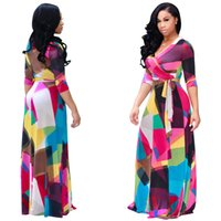 Wholesale maxi sales - Fashion sexy v neck printing full-skirted maxi dress hot sale casual summer dresses (774)