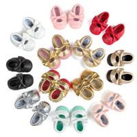 chaussure à semelle souple bébé noir achat en gros de-Bow Baby Shoes Mocassins Cuir Semelle Souple Infant Shoes Filles Garçons Moccs Baby First Walkers Enfants Enfants Chaussures Blanc Noir