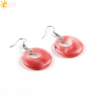 Wholesale Stone Crystal Jewellery - CSJA Real Women Gemstone Jewellery Party Anniversary Beach Outdoor Gift Ear Jewelry Natural Agate Crystal Stone Drop Dangle Earrings E499 B