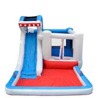 Wholesale Pool Inflatable Slides - 2017 Inflatable Bouncer Castle Children Inflatable Castle Shark Slide Jump Bed Pool Home Naughty Fort Safer Trampoline