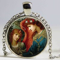 Wholesale Music Musicians - St Cecilia And Angel Pendant Art Picture Glass Dome Cabochon Chain Necklace Women Fashion Music Jewelry Musician Christmas Gift