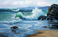 oceano ondas arte pinturas a óleo venda por atacado-Emoldurado Seascape nascer do sol com oceano ondas verdes do mar pássaros rocha Pintura a óleo pintados à mão Página decoração da parede pinturas da arte de multi tamanhos R226