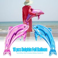 Wholesale Helium Balloon Dolphin - 10Pcs Dolphin Foil Balloon Inflatable Helium Aluminum Adornment Airballoon Birthday Party Wedding Festival Anniversary Decorations