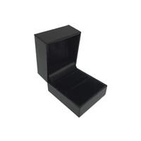 Wholesale Wholesale Jewelry Boxes Leatherette - 6 pcs Jewelry Box Ring box black leatherette paper with black velvet insert