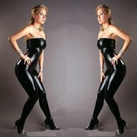 Wholesale Leather Jumpsuit Wholesale - Wholesale- 2016 Sexy Black Faux Leather Latex Catsuit Strapless Bondage Bodysuit Wetlook Clubwear Jumpsuits Open Croth Sequin Zip Rompers