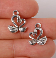 cazibe bracletleri toptan satış-500 adet / grup Çinko Alaşım Antik Gümüş Kaplama Swan Charms Kolye Takı Bulguları Için Kolye Braclets 15 * 13mm