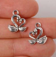 Wholesale Swan Necklace Jewelry - 500pcs lot Zinc Alloy Antique Silver Plated Swan Charms Pendants Jewelry Findings For Necklace Braclets 15*13mm