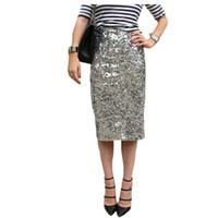 Wholesale high waist pencil skirts - Skirts womens summer pencil high waist long bandage 2017 fashion Silver sexy sequins bodycon korean skirt