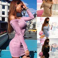 Wholesale Ladies Long Tops Designs - Off Shoulder women casual dresses bodycon slim fit lady clothes autumn new top design s-xl