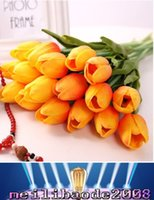 Wholesale Latex Tulips White - NEW Latex Tulips Artificial PU Flower bouquet Real touch flowers For Home decoration Wedding Decorative Flowers 11Colors MYY