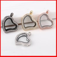 Wholesale float photo frame - 4 Colors Crystal Heart love Floating locket DIY Jewelry Living Memory photo Crystal frames Floating Lockets Pendants for Necklace Bracelets