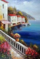 Wholesale Oil Paintings Ship Lake - Framed Italian Lake Como Shore Estate Homes Boats Resort,Pure Hand-painted Art Oil painting Canvas,Multi sizes Available,Free Shipping J013