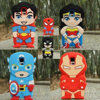 Wholesale Iphone Superhero Cases - Cartoon Ironman Captain America Superman BatMan Superhero Silicone Case For Samsung S6 S7 Edge Note Grand Prime G530 iPhone 6 6S 7 Plus
