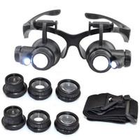ingrosso g si illumina-strumento di riparazione dell'orologio del gioielliere della lente d'ingrandimento della lente d'ingrandimento delle luci degli occhiali da vista LED