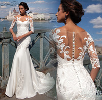 Wholesale Embroidery Trumpet Wedding Dress - Sexy New Beach Wedding Dresses 2017 Scoop Neck Half Sleeves Court Train Appliques Satin White Custom Made Trumpet Bridarl Gowns