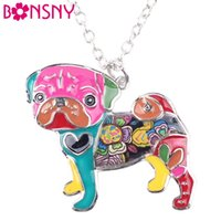 Wholesale Metal Snake Chain Necklaces - Bonsny Statement Metal Alloy Enamel Pug Dog Choker Necklace Chain Collar Bulldog Pendant 2016 Fashion New Enamel Jewelry Women