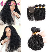 Wholesale Cheap Wholesale Hair Pieces - 9a Brazilian Virgin Hair 4Pcs lot Indian Kinky Curly Human Hair Weave 3 Bundles with Lace Closure Cheap Hair Piece 30 inch Weaves Closure