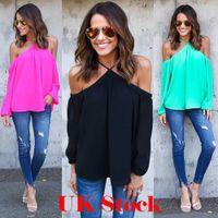 Wholesale Chiffon Cross Shirt Long Sleeve - Sexy Women Halter Chiffon Blouse Casual Spring Summer Off-shoulder Long Sleeve T-shirt 4 Colors Fashion Streetwear