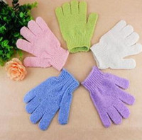Wholesale Exfoliating Gloves Scrubber - 2017 NEW Mitt Shower Bath Glove Exfoliating Massage Body Five Fingers Scrubber Spong Bath Gloves SPA Foam