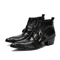 bottes pointues marques pour hommes achat en gros de-Italie de luxe Type 6.5cm Black Toe Toe 100% fait à la main Brand New Men Boots en cuir avec boucle Ziper bottines, taille 38-46