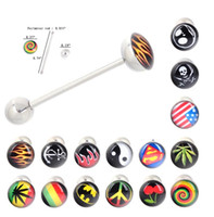 Wholesale Small Piercing Ring - Stainless steel tongue stud Body Piercing Arts Jewelry Tongue pin drops ring small Ornaments