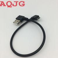 sol kablo toptan satış-Toptan-20 cm USB 2.0 Sol Açı A Erkek 90 Derece Mikro Sol Açı M Kablo Veri Kablosu için Masa Cep Telefonu USB 2.0 için mikro AQJG