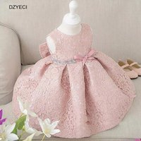 Wholesale Kids White Casual Wedding Dress - Flower Girl Dresses For Party And Wedding Carnival costumes Kid Bow Floral Princess Dress 1st Birthday Party Children Deguisement Gown