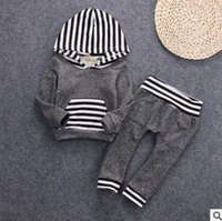 Wholesale Boys Stripe Hoodie - baby boy clothes Autumn pocket Long Sleeve Hoodies +Long Pants Stripe Toddler Clothing Sets Casual Infant Outfits 7472