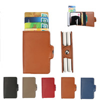 Wholesale Wholesale Pillow Protectors - Leather Wallet Double Card Holder with Automatic Slide Card Holder Credit Rfid Card Protector Case Organizer Men Wallets