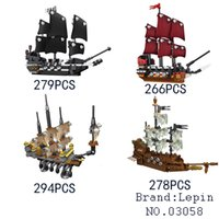 Wholesale Building Blocks Pirate Ship - 03058 Lepin Pirates of the Caribbean Movie 4 In 1 Slient Mary Black Pearl Queen Anne's Reveage Ship Set Building Blocks Bricks