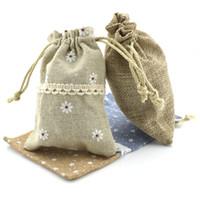 Wholesale cotton pouch bag wholesale - Mix style 8x12cm Cotton Linen Drawstring Pouch Bag Jewelry candy Christmas Wedding Gift Bags NE814