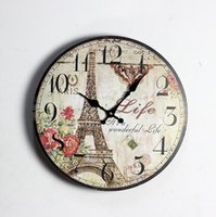 Wholesale Modern Art Painting Clock - Modern Painting Pairs Eiffel Tower Decorative Wood Wall Clock Home Arts Bedroom Living Digital Clock