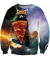 Wholesale Galaxy Crewneck Sweatshirts Men - Wholesale-Red Panda Pizza Bandit Crewneck Sweatshirt skateboard Sweats Women Men Galaxy Jumper Tops Moletons Fashion Clothing