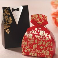 Wholesale Chinese Sale Suits - Hot Sale Wedding Favor Boxes Groom and Bride Suit Sweetbox Candy Favors Novelty Wedding Favors holders Chinese Style Design