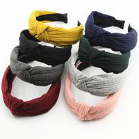 Wholesale cross play - Korean Version of The New Hair Headdress Cloth Knitted Cross Play Hair Hoop Hoop Wide Stripe Ornaments
