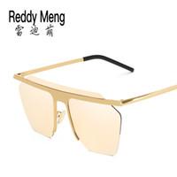 38f9229e4a Verano 2017 nueva marca de alta calidad sin marco Gafas de sol de aviador  para hombres y mujeres / niños niñas que conducen gafas de moda de lujo  negro azul ...