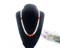 серебро бисера ожерелье набор оптовых-Новый 8-9 мм белый жемчуг + красный агат ожерелье