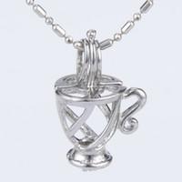 Wholesale lockets online - 5pcs silver plated cup shape cage pendant mm Fashion Design
