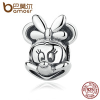 Wholesale Fine Baby Jewelry - Wholesale-BAMOER Baby Gift 925 Sterling Silver Minnie Portrait Beads Charms with Knot fit Bracelets Women Fine Jewelry PAS322