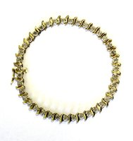 Wholesale Antique Estate - 10k yellow gold .78ct s-link diamond tennis bracelet 6.7g estate vintage antique