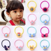 Wholesale ties head for girls - Girl Korea Children Hair Ring Girls Ponytail Holder Hair Accessories Hair Tie Elastic Head Rope Headdress for Girls Wholesale