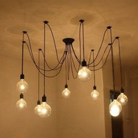 Vintage 12v Lights Pas Cher-Vente en gros - 5 Lampes Vintage Pendant Lights Retro Loft Spider Lighting Lampe réglable