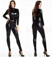 Wholesale Lycra Jumpsuit Costume - New 2016 Womens Long Sleeve Zentai Bodysuit Jumpsuit Sexy Black Shiny Latex Full Body Zentai Suit Lycra Spandex Zentai Catsuit
