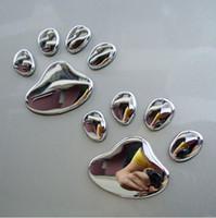 Wholesale Dog Footprint 3d Car Sticker - 1pair Cool Design Dog Cat Bear FootPrints Car Sticker 3D Animal Foot Prints Stickers Footprints Car Stickers Decals