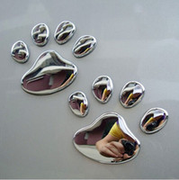 Wholesale Decal Sticker Dog - 1pair Cool Design Dog Cat Bear FootPrints Car Sticker 3D Animal Foot Prints Stickers Footprints Car Stickers Decals